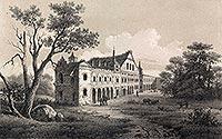 Zamek w Białej - Zamek w Białej Podlaskiej na litografii J.Ceglińskiego z drugiej połowy XIX wieku