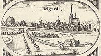 Zamek w Białogardzie - Panorama miasta z widokiem zamku. Rysunek na mapie Eilharda Lubinusa z 1618 roku