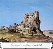 Zamek w Bobolicach - Ruiny zamku w Bobolicach w po�owie XIX wieku, akwarela T.Chrz��skiego. Stronczy�ski, Atlas I