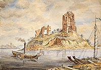 Zamek w Bobrownikach - Ruiny zamku w Bobrownikach na akwareli Napoleona Ordy sprzed 1883 roku