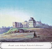 Zamek w Bodzentynie - Zamek od strony dziedzińca i wschodniej w 1 połowie XIX wieku, akwarela T.Chrząńskiego. Stronczyński, Atlas II