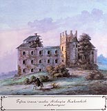 Zamek w Bodzentynie - Ruiny zamku w Bodzentynie, akwarela Teodora Chrząńskiego, 'Kazimierza Stronczyńskiego opisy i widoki zabytków w Królestwie Polskim (1844-1855)'