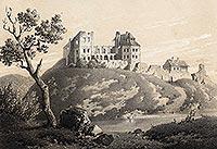 Zamek w Bodzentynie - Litografia J.Ceglińskiego z około 1857 roku