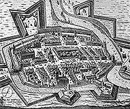 Zamek w Braniewie - Fortyfikacje miasta i zamku w 1635 roku według miedziorytu P.Stertzell'a