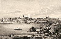 Zamek w Brzegu - Miasto i zamek na litografii Eduarda Pietzscha, Borussia 1839