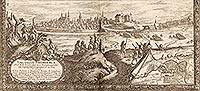 Zamek w Bydgoszczy - Panorama miasta i zamek na sztychu Erika Dahlbergha z dzieła Samuela Pufendorfa 'De rebus a Carolo Gustavo gestis', 1656 rok