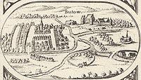 Zamek w Bytowie - Panorama miasta z widokiem zamku. Rysunek na mapie Eilharda Lubinusa z 1618 roku