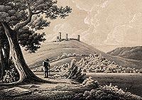 Zamek w Chęcinach - Zamek w Chęcinach na litografii Juliana Ceglińskiego z 1860 roku