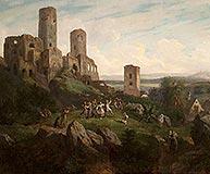 Zamek w Chęcinach - Zamek w Chęcinach na obrazie Henryka Pillatiego z 1855 roku