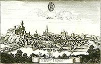 Zamek w Cieszynie - Widok Cieszyna na sztychu Matthäusa Meriana z dzieła 'Topographia Bohemiae, Moraviae et Silesiae' z 1650 roku