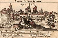 Zamek w Cieszynie - Cieszyn na sztychu z XVI wieku