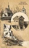 Zamek w Ćmielowie - Brama zamkowa i ruiny kaplicy na pocztówce z około 1900 roku