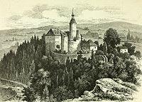 Zamek Czocha - Zamek Czocha na drzeworycie Arthura Blaschnika z 1884 roku