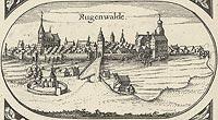 Zamek w Darłowie - Panorama miasta z widokiem zamku. Rysunek na mapie Eilharda Lubinusa z 1618 roku