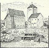 Zamek w Darłowie - Zamek w Darłowie na rysunku z przełomu XIX i XX wieku