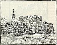 Zamek w Dobrej - Ruiny zamku w Dobrej na rysunku z 1912 roku