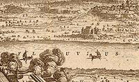 Zamek Dybów w Toruniu - Zamek w Dybowie na sztychu Erika Dahlbergha z połowy XVII wieku