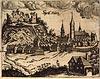 Zamek w Dzierzgoniu - Widok na miasto i ruiny w 1684 roku według Christopha Johanna Hartknocha, 'Die Bau- und Kunstdenkmäler Pomesaniens. H. 3. Kreis Stuhm' 1909