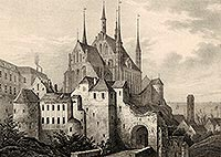 Frombork - Katedra we Fromborku na litografii Eduarda Pietzscha, Borussia 1839
