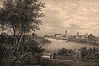 Zamek w Głogowie - Miasto i zamek na litografii Eduarda Pietzscha, Borussia 1837