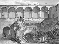 Zamek w Gołuchowie - Dziedziniec zamku w Gołuchowie na litografii Konstancji Raczyńskiej, Wspomnienia Wielkopolski to jest województw poznańskiego, kaliskiego i gnieźnieńskiego, 1843