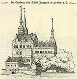 Zamek w Grabowie - Zamek w Grabowie na rysunku z przełomu XIX i XX wieku