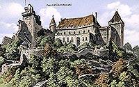 Zamek Grodziec - Grodziec na pocztówce z okresu międzywojennego