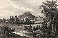 Grodziec - Zamek Grodziec na litografii Eduarda Pietzscha, Borussia 1842