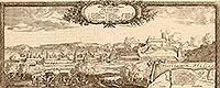 Zamek w Grudziądzu - Panorama miasta i zamek na sztychu Erika Dahlbergha z dzieła Samuela Pufendorfa 'De rebus a Carolo Gustavo gestis', 1656 rok