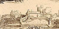 Zamek w Grudziądzu - Pozostałości zamku na litografii Eduarda Pietzscha, Borussia 1839
