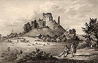 Zamek Gryf w Proszówce - Widok z 1 połowy XIX wieku, 'Borussia' 1836