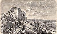 Proszówka - Zamek Gryf na grafice z końca XIX wieku