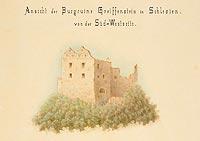Zamek Gryf w Proszówce - Ruiny zamku Gryf na rysunku R.Creppiego