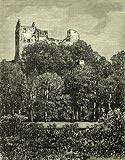 Zamek Gryf w Proszówce - Zamek Gryf na drzeworycie z około 1880 roku
