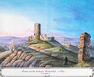 Zamek w Iłży - Ruiny zamku w Iłży, akwarela Teodora Chrząńskiego, 'Kazimierza Stronczyńskiego opisy i widoki zabytków w Królestwie Polskim (1844-1855)'