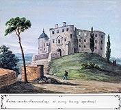Zamek w Janowcu - Zamek w Janowcu, akwarela Teodora Chrząńskiego, 'Kazimierza Stronczyńskiego opisy i widoki zabytków w Królestwie Polskim (1844-1855)'