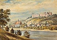 Zamek w Janowcu - Zamek w Janowcu na akwareli Napoleona Ordy sprzed 1883 roku