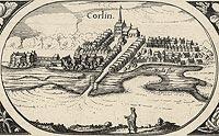 Zamek w Karlinie - Panorama miasta z widokiem zamku po lewej stronie z rysunku na mapie Eilharda Lubinusa z 1618 roku