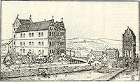 Karlino - Zamek w Karlinie na rysunku z przełomu XIX i XX wieku