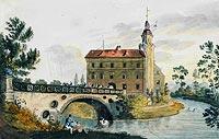 Zamek w Karpnikach - Zamek w Karpnikach na grafice z około 1820 roku