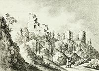 Zamek Karpień - Ruiny zamku na litografii z 1824 roku