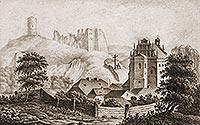 Zamek w Kazimierzu Dolnym - Zamek w Kazimierzu na cynkografii z drugiej połowy XIX wieku