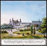 Pałac w Kielcach - Pałac w Kielcach, akwarela Teodora Chrząńskiego, 'Kazimierza Stronczyńskiego opisy i widoki zabytków w Królestwie Polskim (1844-1855)'