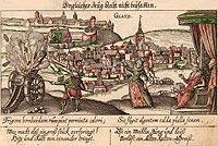 Zamek w Kłodzku - Kłodzko na sztychu z XVI wieku