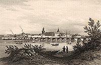 Kostrzyn - Zamek i most na Odrze na litografii Eduarda Pietzscha, Borussia 1842