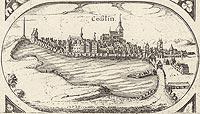 Zamek w Koszalinie - Panorama miasta na rysunku z mapy Eilharda Lubinusa z 1618 roku
