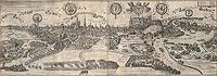 Zamek na Wawelu w Krakowie - Panorama Krakowa od zachodu u schyłku XVI wieku, miedzioryt z dzieła Georga Brauna i Franza Hogenberga 'Civitates orbis terrarum' tworzonego w 2 połowie XVI wieku