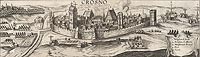 Zamek w Krośnie Odrzańskim - Panorama Krosna Odrzańskiego u schyłku XVI wieku, miedzioryt z dzieła Georga Brauna i Franza Hogenberga 'Civitates orbis terrarum' tworzonego w 2 połowie XVI wieku