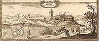 Zamek w Kruszwicy - Zamek na sztychu Erika Dahlbergha z dzieła Samuela Pufendorfa 'De rebus a Carolo Gustavo gestis', 1656 rok