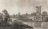 Zamek w Kruszwicy - Mysia Wieża na grafice z pierwszej połowy XIX wieku